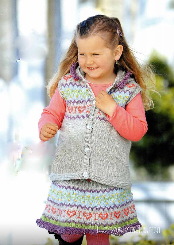 Юбка вязаная на спицах для девочки 8 лет