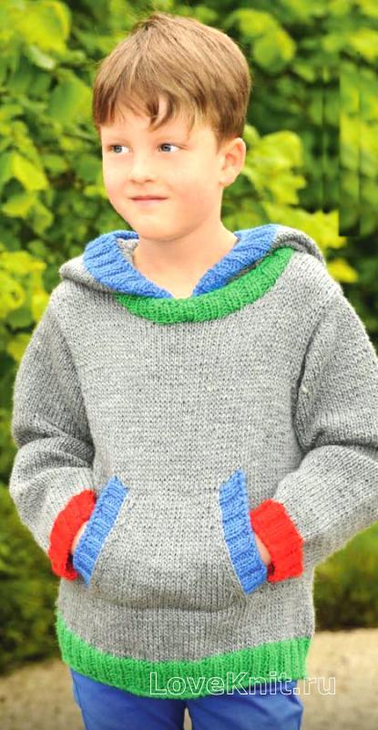 Вязать кофты с капюшоном для мальчика