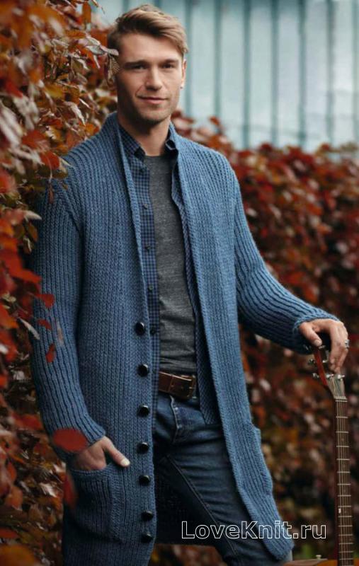 длинный мужской кардиган с карманами схема для мужчин люблю вязать
