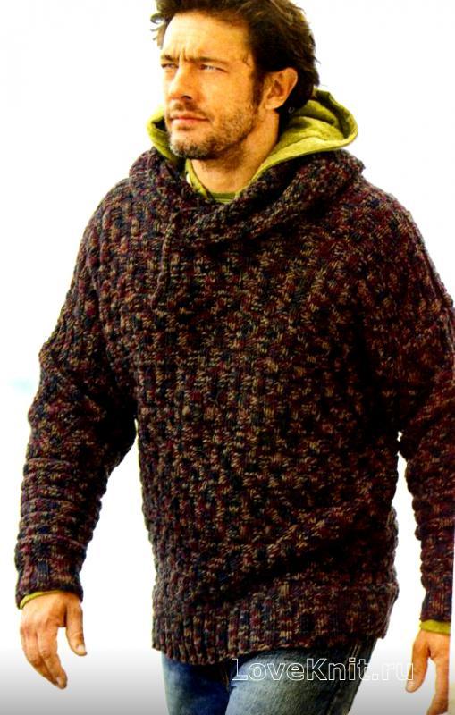 меланжевый джемпер с капюшоном для мужчины схема для мужчин люблю