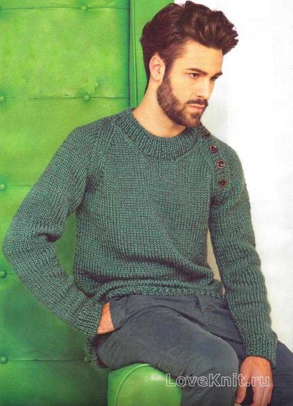 мужской пуловер с рукавом реглан с пуговицами схема для мужчин