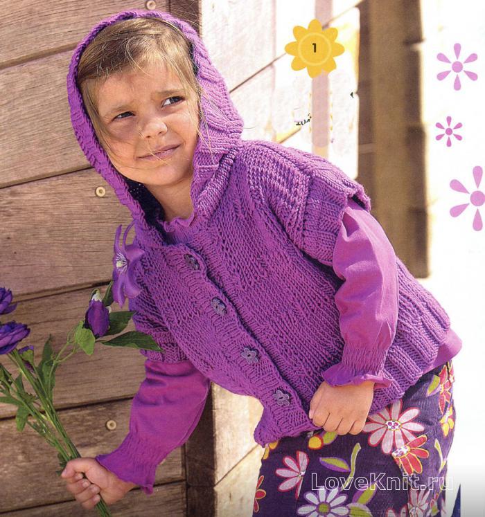 детский жилет с капюшоном схема люблю вязать