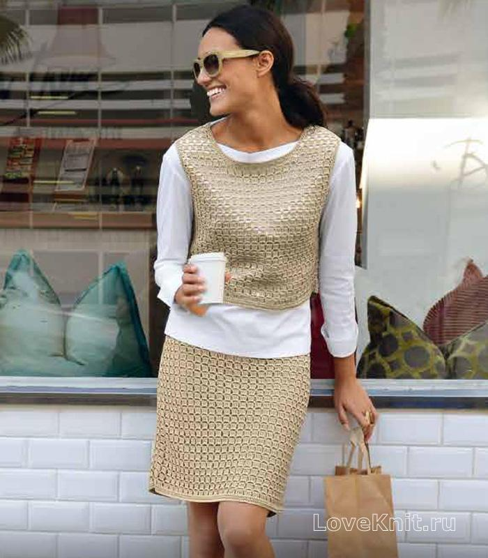 Вязание жилеты и юбки