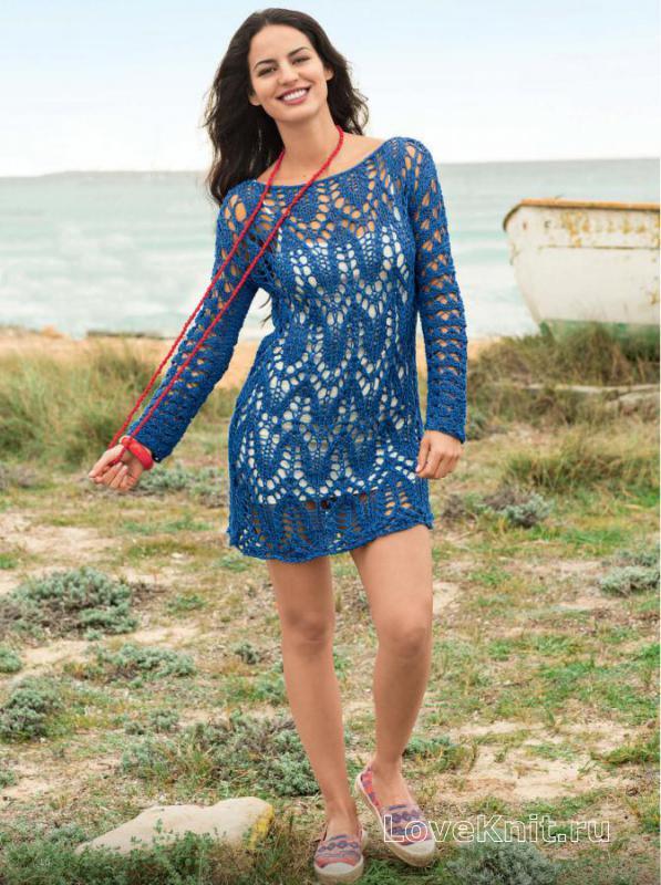 Как связать спицами платье с длинными рукавами