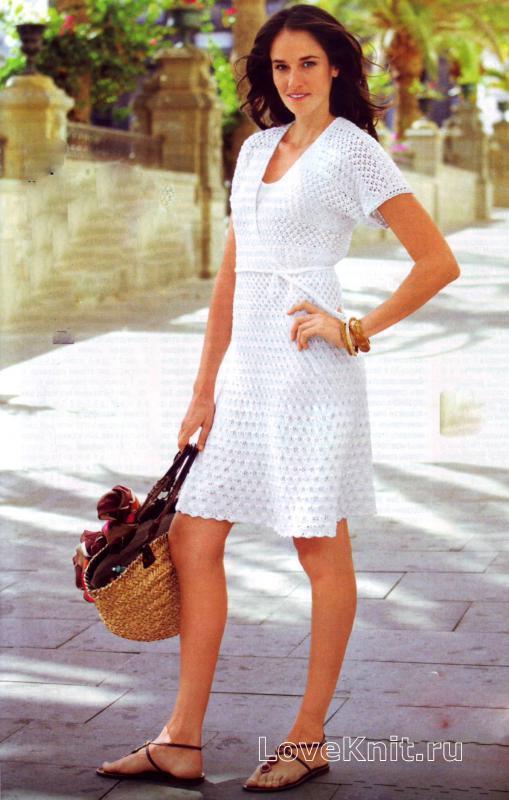 Вязаное платье с запахом схемы