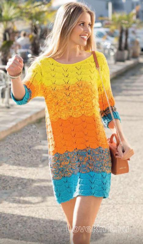 9e535c0bf47 Цветное ажурное платье свободного фасона схема спицами » Люблю Вязать