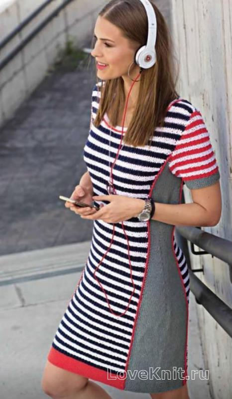d1b02c50d45 Летнее платье в цветную полоску схема спицами » Люблю Вязать