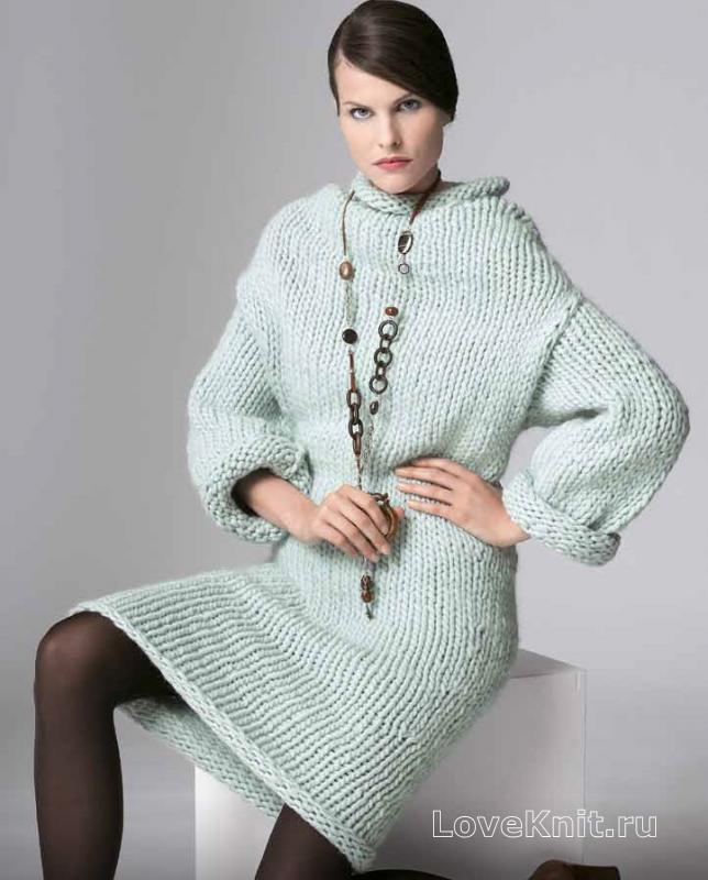 Платье крупная вязка спицами
