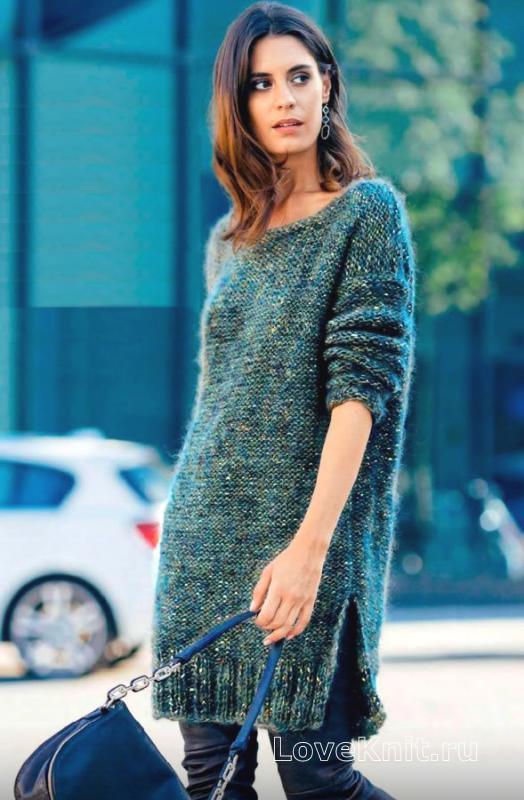 Очень теплое вязаное платье. Спицы. Описание, схемы. Обсуждение на.