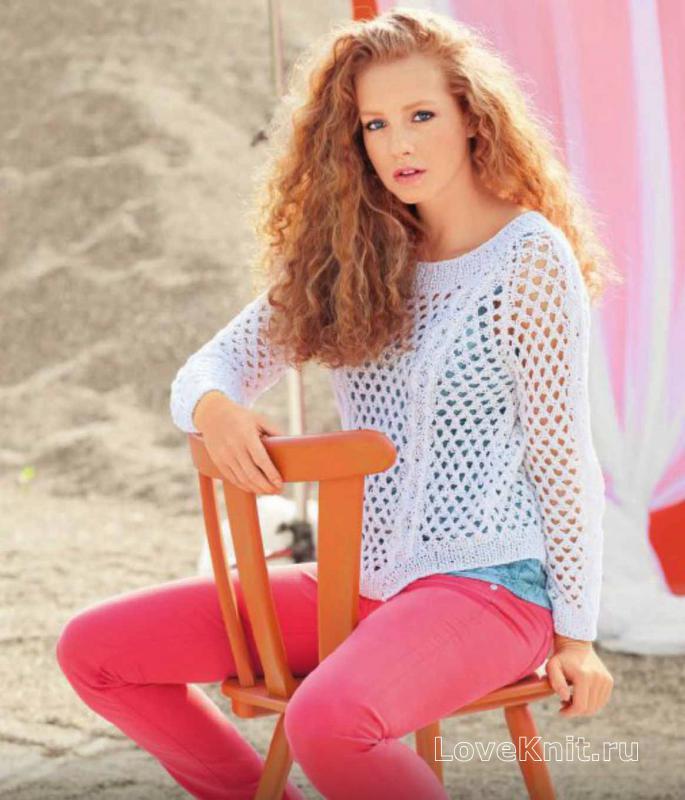 1b32fa24f8a Белый ажурный пуловер схема спицами » Люблю Вязать