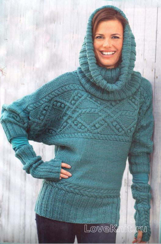 Бирюзовый пуловер с рукавом летучая мышь, воротник-хомут и ...