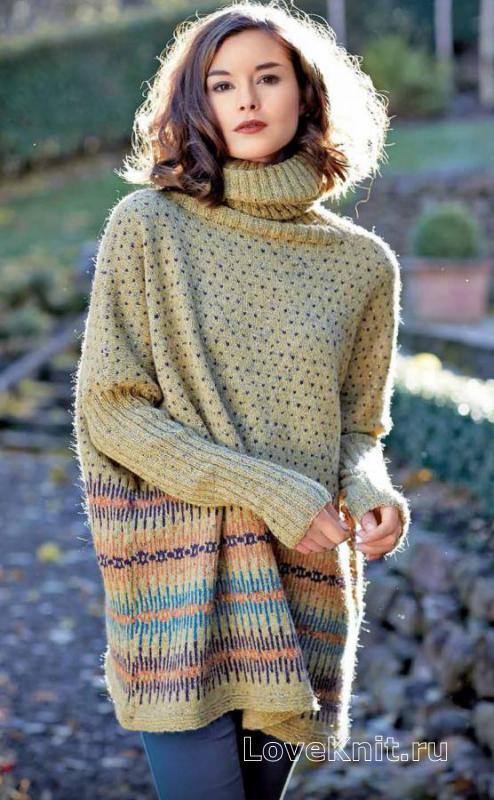 длинный свободный свитер с рисунком схема спицами люблю вязать