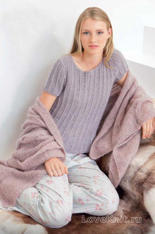 домашний пуловер английской резинкой схема спицами люблю вязать