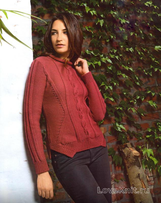 Пуловер с большим воротником