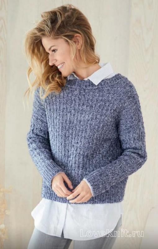 классический пуловер с застежкой на спине схема спицами люблю вязать