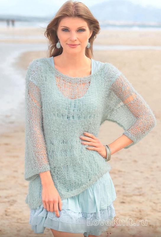 Пуловер цвета мяты спицами