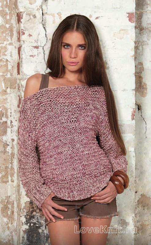 меланжевый пуловер с открытыми плечами схема спицами люблю вязать