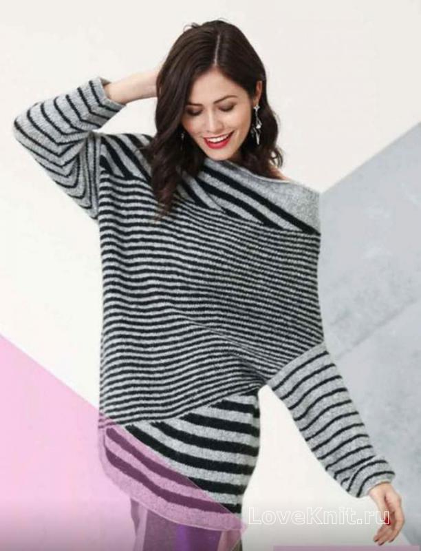 полосатый пуловер с рукавом летучая мышь схема спицами люблю вязать
