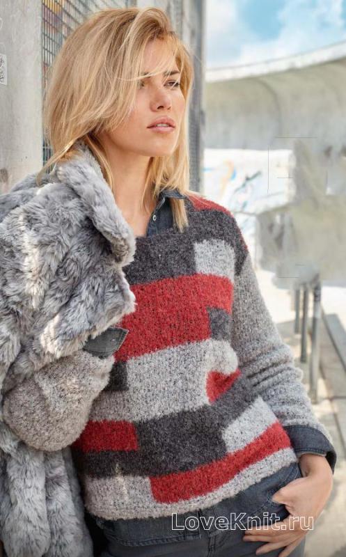 пуловер букле с цветным рисунком схема спицами люблю вязать