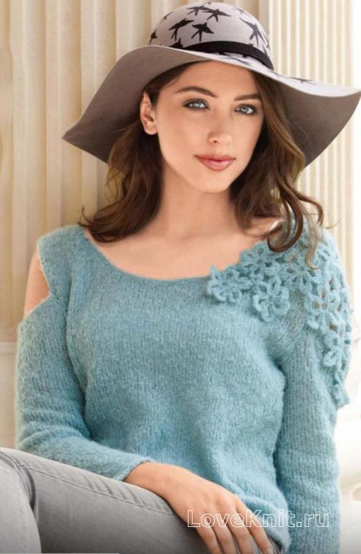 пуловер украшенный цветами на плече схема спицами люблю вязать