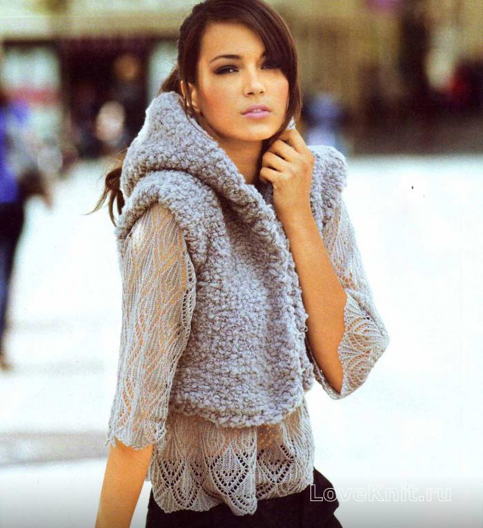 пуловер и жилет с капюшоном схема спицами люблю вязать