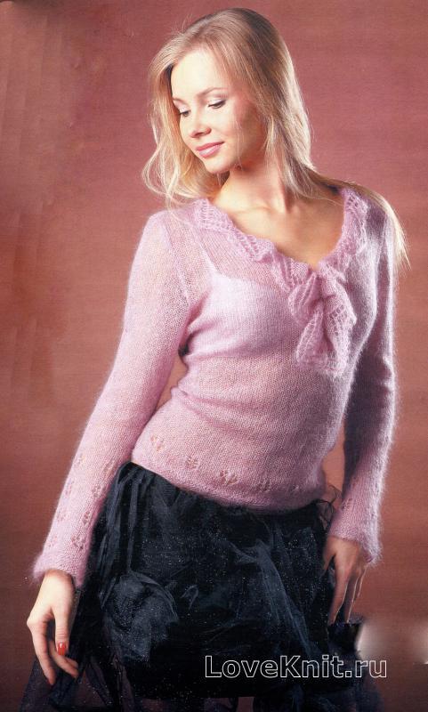Классический свитер спицами лицевой гладью  Колибри