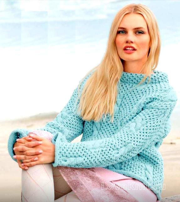 свитер с косами или сотами схема спицами люблю вязать