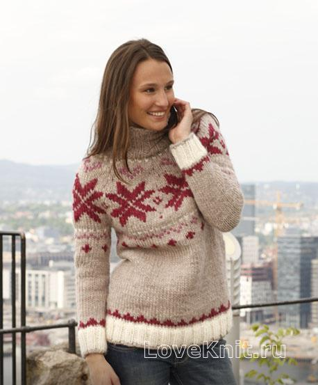 Мужской свитер спицами с норвежским узором схема 69