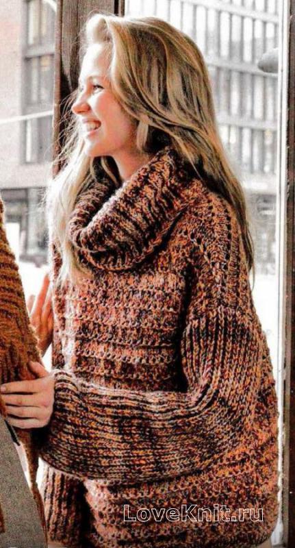 свитер оверсайз с большим воротником схема спицами люблю вязать