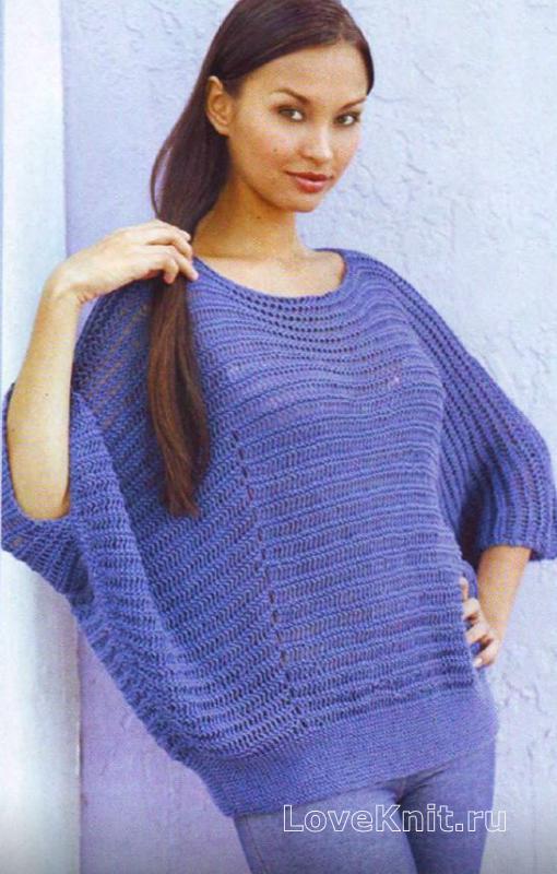 Связать пуловер с летучая мышь