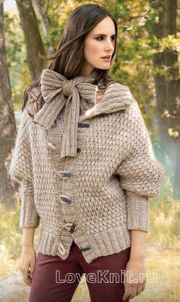 Свободный жакет на пуговицах и шарф схема спицами » Люблю ...