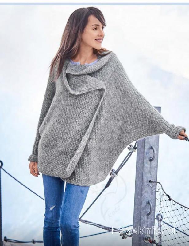 пальто оверсайз с цельновязаными рукавами схема спицами люблю вязать