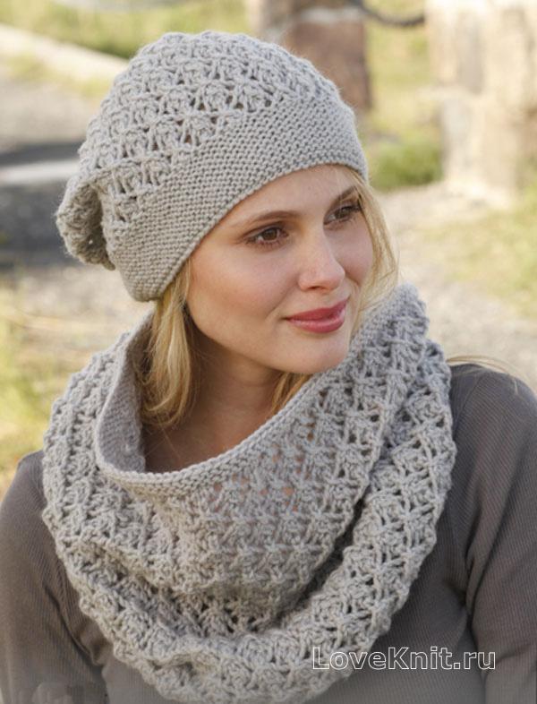 ажурный шарф снуд и шапочка схема спицами люблю вязать