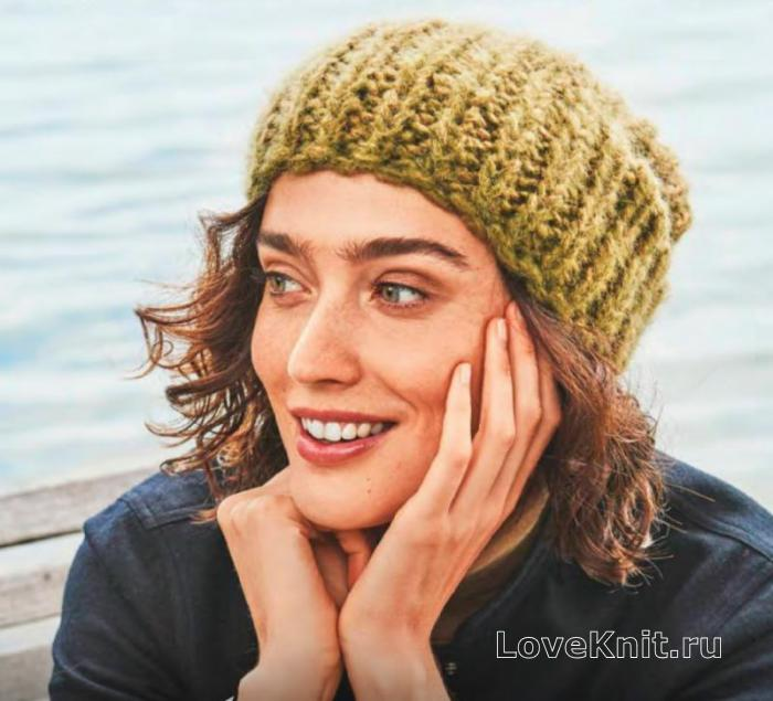 шапка бини крупной вязки схема спицами люблю вязать