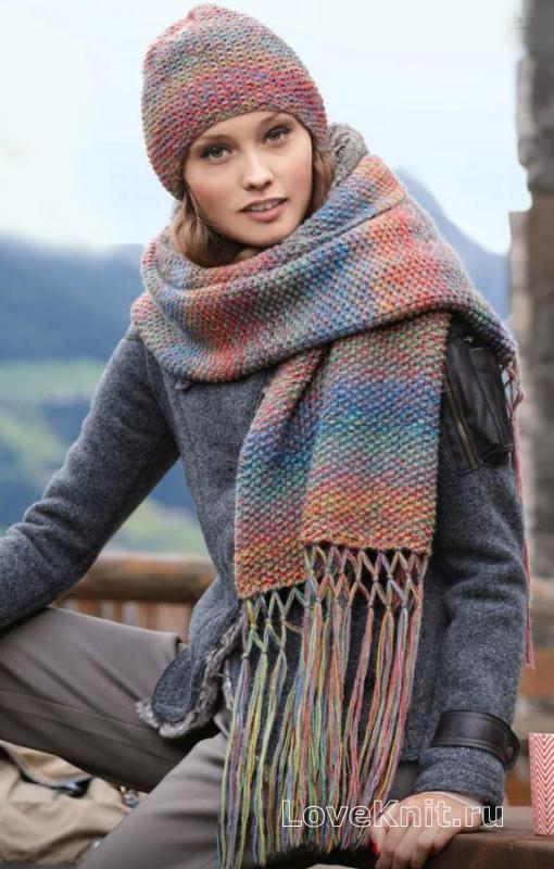 шапка и длинный шарф с кистями схема спицами люблю вязать