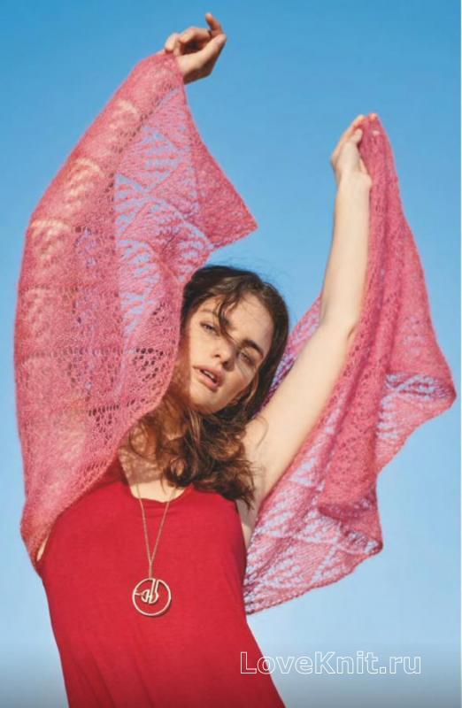 Как связать спицами ажурный платок-накидка