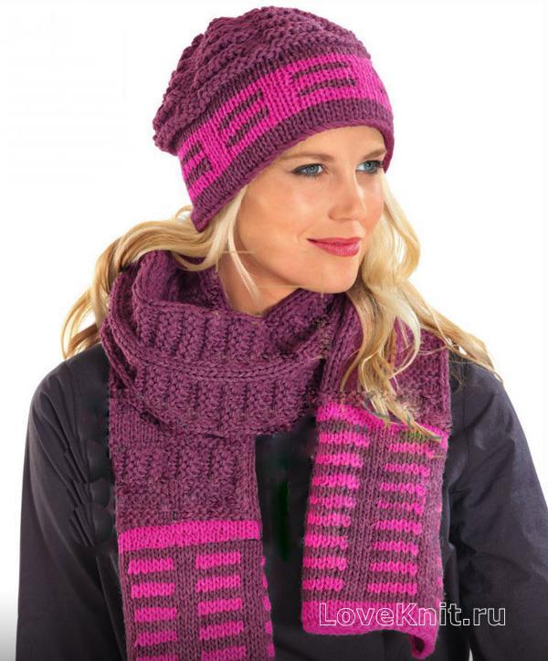 широкий ажурный шарф спицами схема