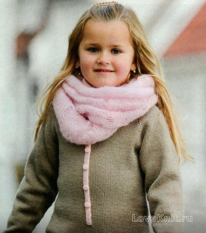 Вязание спицами снуд для девочки 317