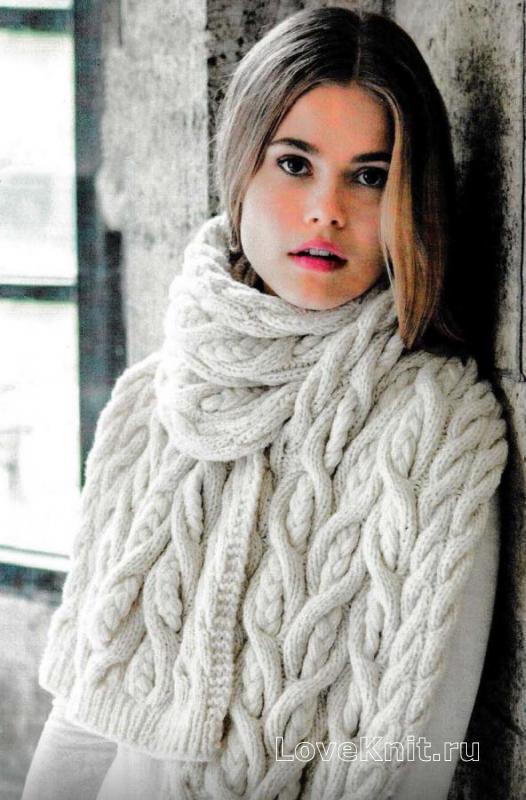 Схема вязания объемного шарфа спицами фото 3
