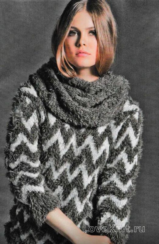 Простой шарф-снуд схема спицами » Люблю Вязать