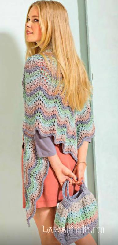 b496d7557a2 Разноцветный платок с волнистым узором и сумка схема спицами » Люблю ...