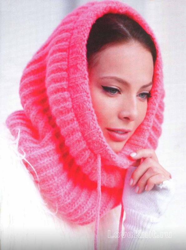 шарф капюшон вязание спицами для женщин схема вязания
