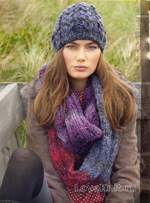 шапка с косами и цветной снуд схема спицами люблю вязать