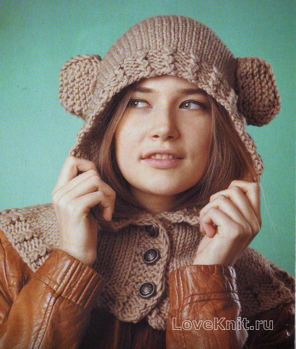 шарф капюшон с ушками схема спицами люблю вязать