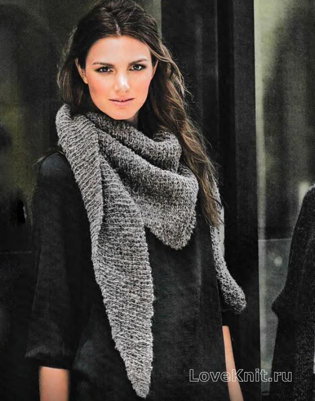 шарф косынка платочной вязкой схема спицами люблю вязать