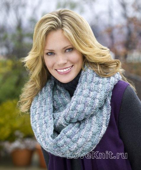 Как связать снуд хомут круговой шарф спицами. Объмный шарф снуд.