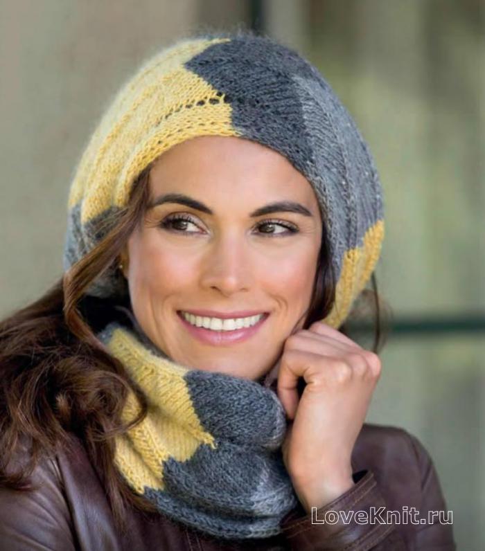 Как связать роскошный двухцветный шарф хомут TUTSDAY