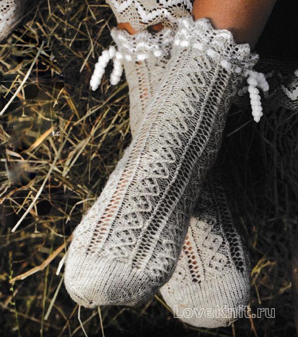 ажурные носочки с кружевной каймой схема спицами люблю вязать