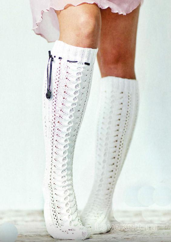 белый ажурные гольфы со шнурками схема спицами люблю вязать