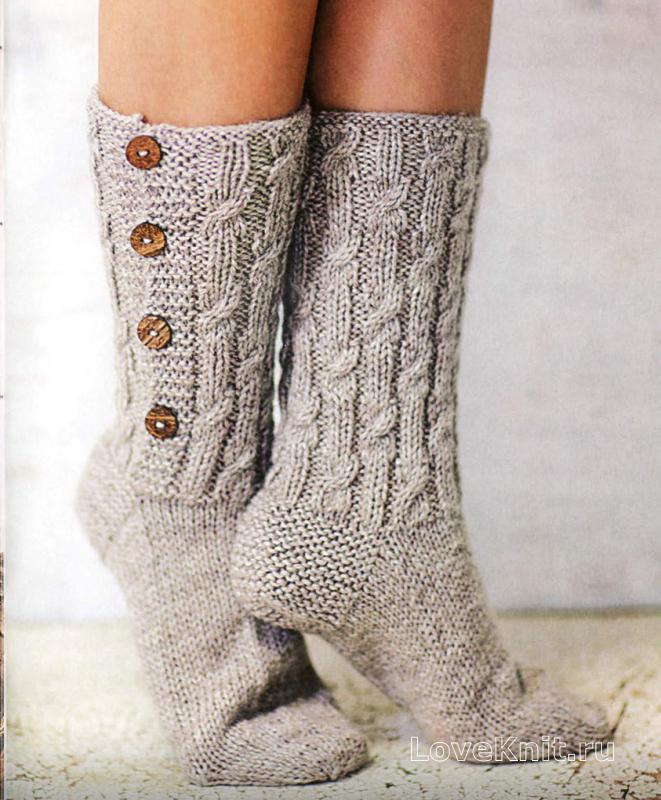 длинные носки с пуговицами схема спицами люблю вязать